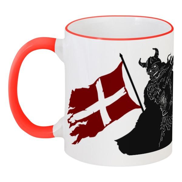 Кружка с цветной ручкой и ободком Printio Северные воины северные срубы и дома
