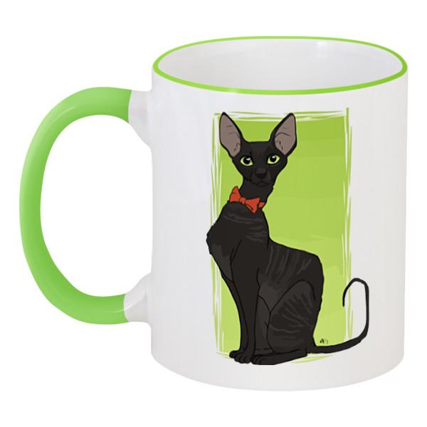 Кружка с цветной ручкой и ободком Printio Чёрная кошка кружка с цветной ручкой и ободком printio кот и кошка