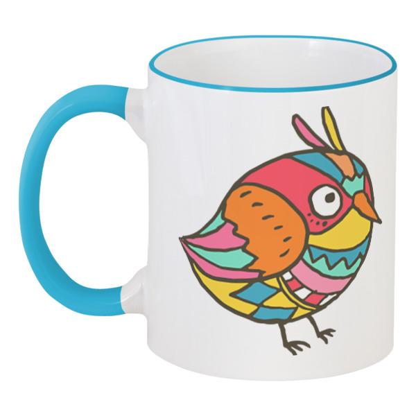 Кружка с цветной ручкой и ободком Printio Этно птичка кружка яркая птичка