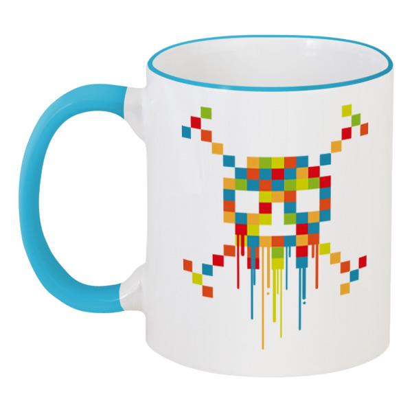 Printio Пиксельный череп кружка цветная внутри printio пиксельный череп