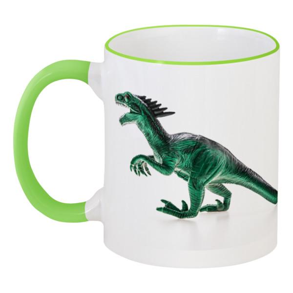 Кружка с цветной ручкой и ободком Printio Динозавры