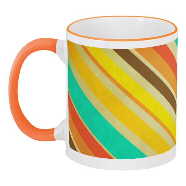 Кружка с цветной ручкой и ободком Printio Полосатая абстракция кружка printio разноцветные леденцы