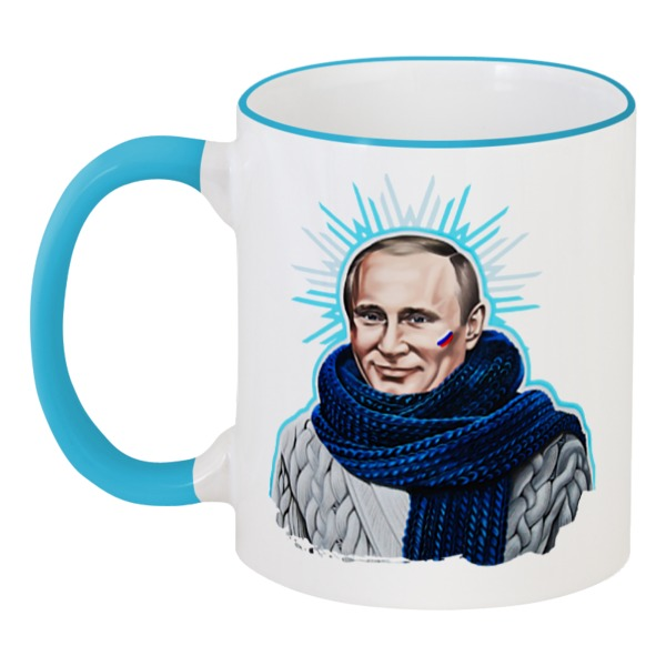 Кружка с цветной ручкой и ободком Printio Путин в шарфе фирменная новогодняя кружка