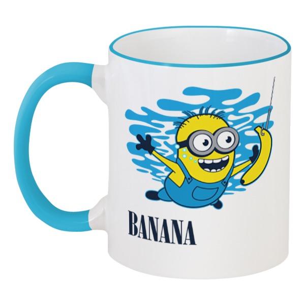 Кружка с цветной ручкой и ободком Printio Banana. миньоны кружка printio banana split