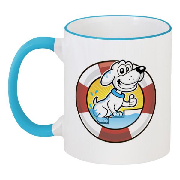 Printio Пёс-спасатель кружка с цветной ручкой и ободком printio пёс спасатель