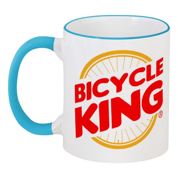 Кружка с цветной ручкой и ободком Printio Велосипедный король deroace велосипедный цепной стальной замок для электрокара электро мотороллера мотора