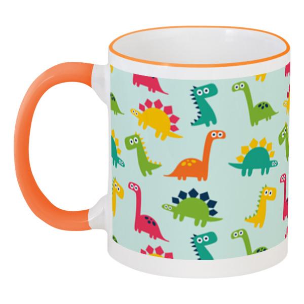 Кружка с цветной ручкой и ободком Printio Динозаврики кружка с цветной ручкой и ободком printio динозаврики