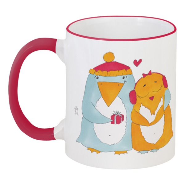 Кружка с цветной ручкой и ободком Printio Влюбленные пингвины набор кружек влюбленная парочка n 1 эврика 1199356
