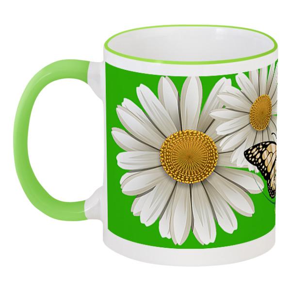 Кружка с цветной ручкой и ободком Printio Цветы. красота природы