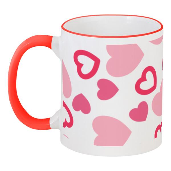 Кружка с цветной ручкой и ободком Printio Сердечная цветной тм натюрморт в розовых тонах