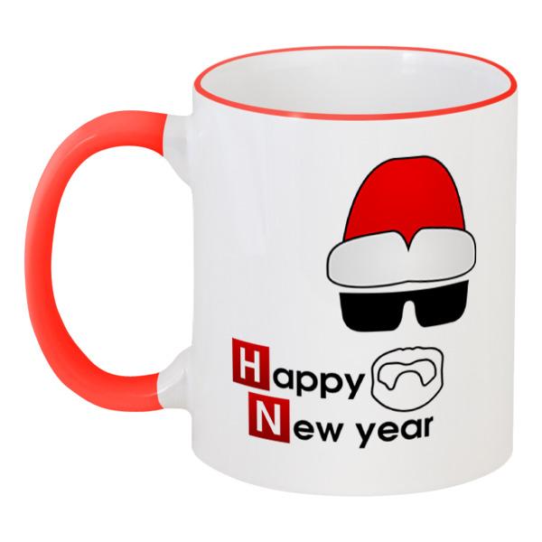 Кружка с цветной ручкой и ободком Printio Happy new year фартук с полной запечаткой printio happy new year 2017