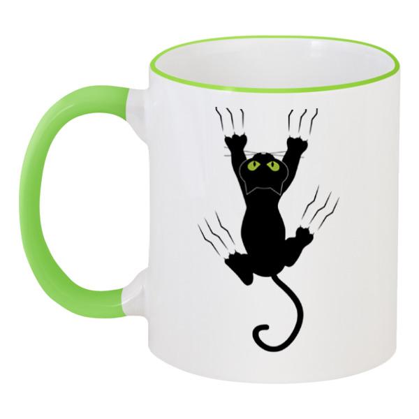 Кружка с цветной ручкой и ободком Printio Прикольный кот цветной тм кот в кормушке