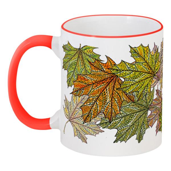 Кружка с цветной ручкой и ободком Printio Золотая осень уронила листья кружка printio листья