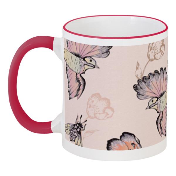 Кружка с цветной ручкой и ободком Printio Птицы и пчёлы кружка printio птицы и пчёлы