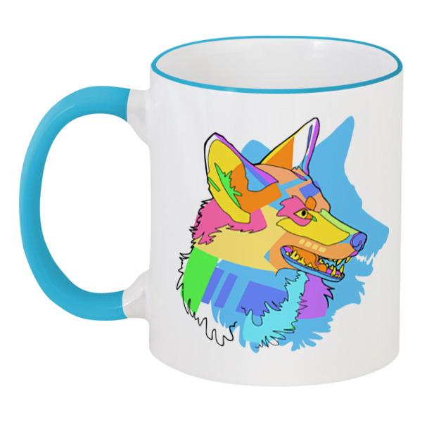Кружка с цветной ручкой и ободком Printio Собака кружка с цветной ручкой и ободком printio динозаврики