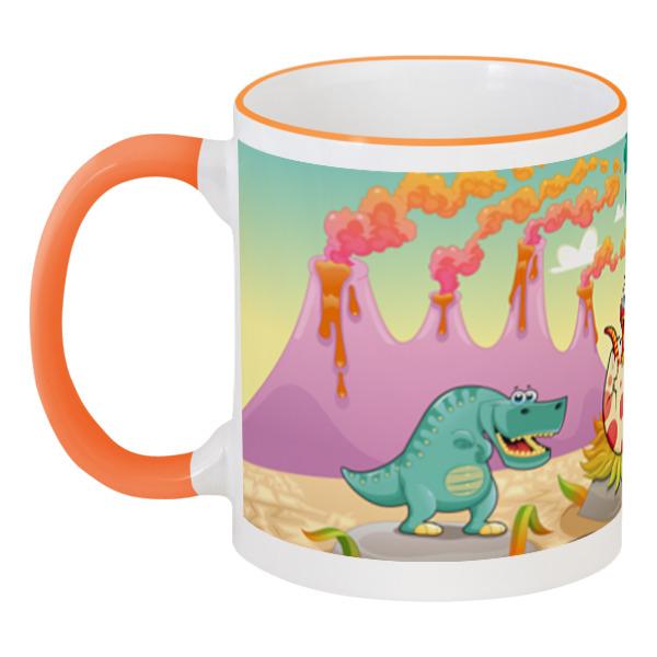 Кружка с цветной ручкой и ободком Printio Забавные динозаврики цена