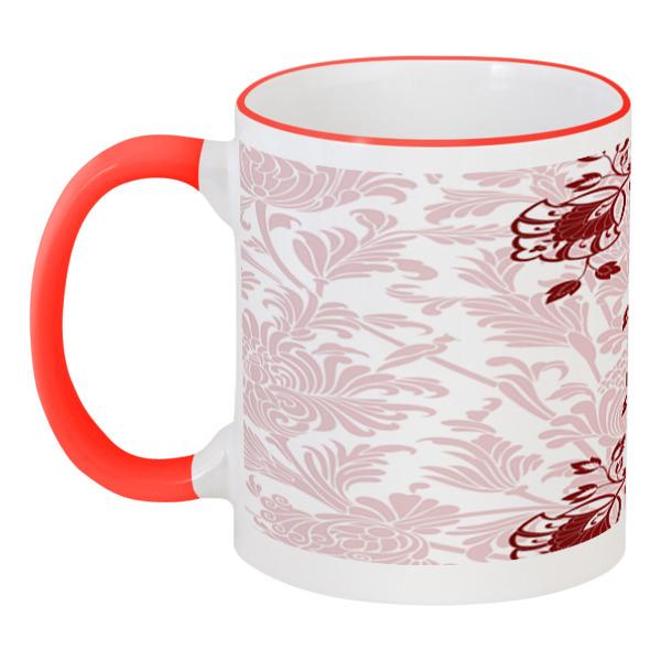 Кружка с цветной ручкой и ободком Printio Красные цветочки кружка printio цветочный стиль пионы красные