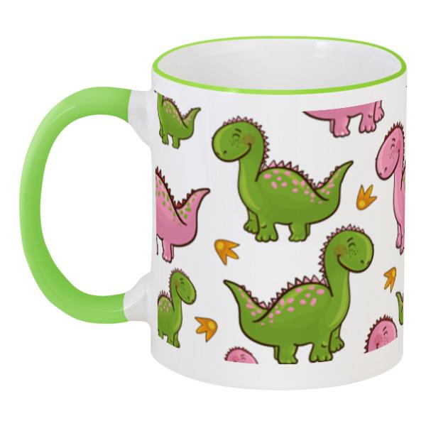 Кружка с цветной ручкой и ободком Printio Динозаврики кружка с цветной ручкой и ободком printio забавные динозаврики
