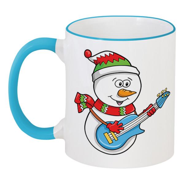 Кружка с цветной ручкой и ободком Printio Снеговик кружка printio снеговик