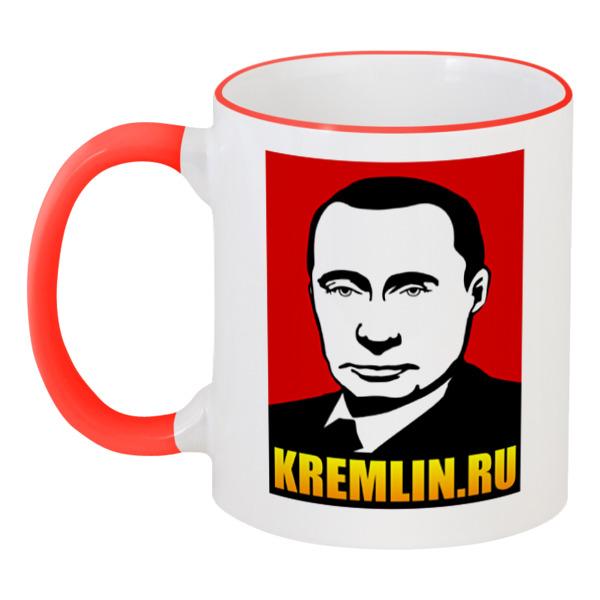 Кружка с цветной ручкой и ободком Printio Путин джинсы реплей официальный сайт