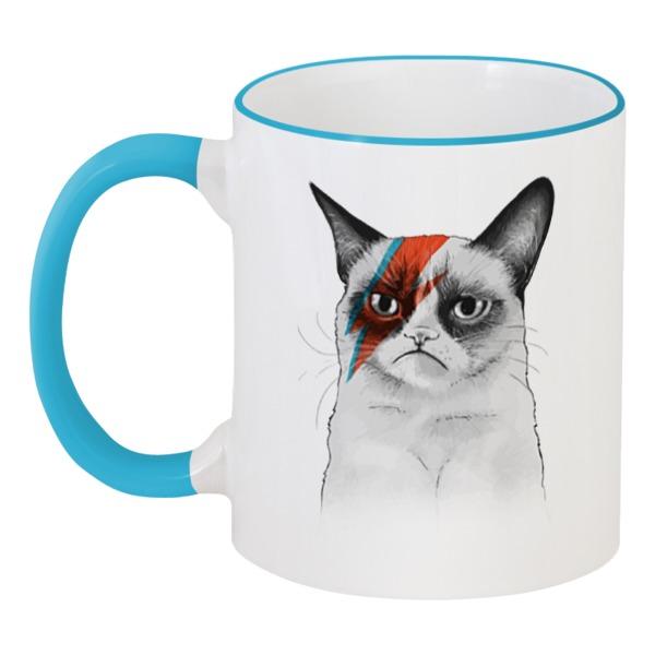 Кружка с цветной ручкой и ободком Printio Grumpy cat x david bowie кружка printio cat night