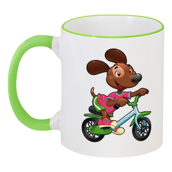 Кружка с цветной ручкой и ободком Printio Собака - велосипедист кружка с цветной ручкой и ободком printio собака