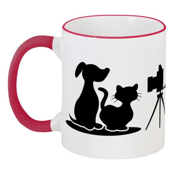 Printio Пёс и кот кружка с цветной ручкой и ободком printio пёс спасатель