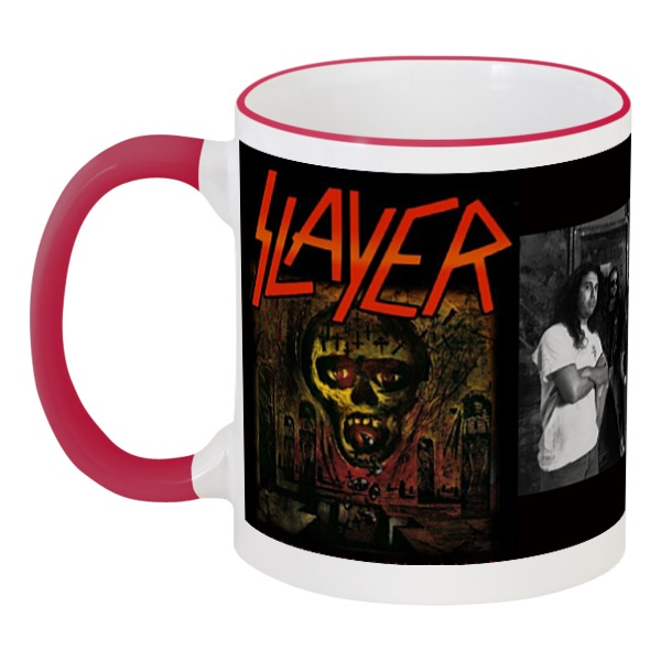 Кружка с цветной ручкой и ободком Printio Slayer-season in the abyss 1990 the mating season