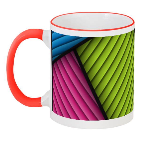 Кружка с цветной ручкой и ободком Printio Цветная абстракция курносики кружка цветная с ручкой 6 мес 200мл  17027