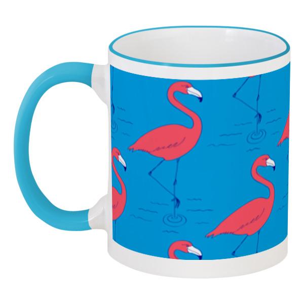 Кружка с цветной ручкой и ободком Printio Розовый фламинго кружка с цветной ручкой и ободком printio динозаврики