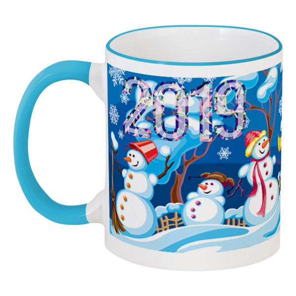 Кружка с цветной ручкой и ободком Printio Новогодняя кружка printio снеговик