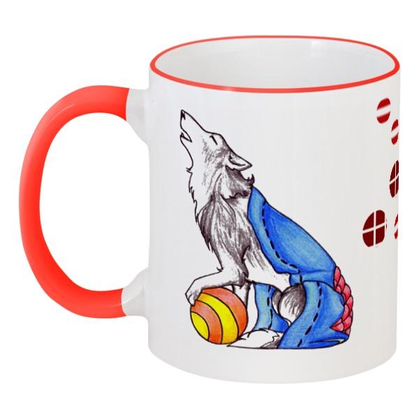 Кружка с цветной ручкой и ободком Printio Сказрочный волк кружка printio волк и осень