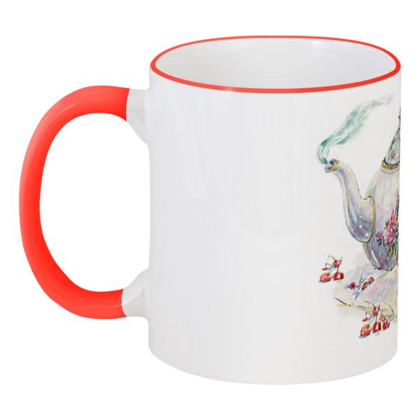 Кружка с цветной ручкой и ободком Printio Мышка в чайничке юбка finn flare finn flare mp002xw025l7
