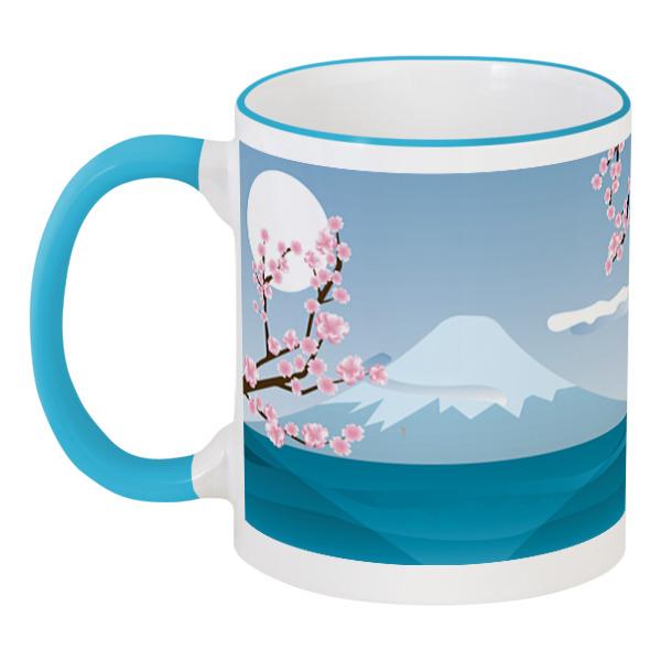 Кружка с цветной ручкой и ободком Printio Фудзияма чайник со свистком rondell rds 103 nelke