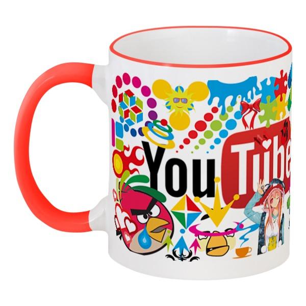 Кружка с цветной ручкой и ободком Printio Чашка youtube кеды shoiberg shoiberg sh003amleo76