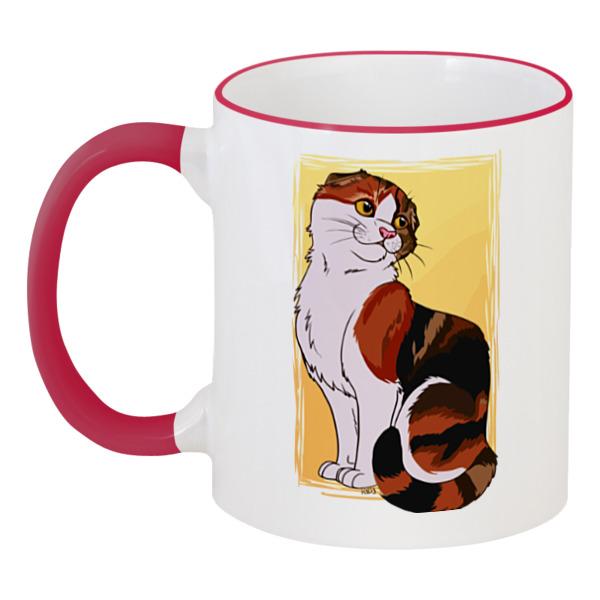 Кружка с цветной ручкой и ободком Printio Милая кошка кружка с цветной ручкой и ободком printio кот и кошка