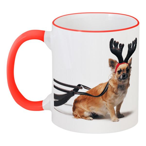 Фото - Кружка с цветной ручкой и ободком Printio 2018 год желтой собаки кружка printio год собаки 2018