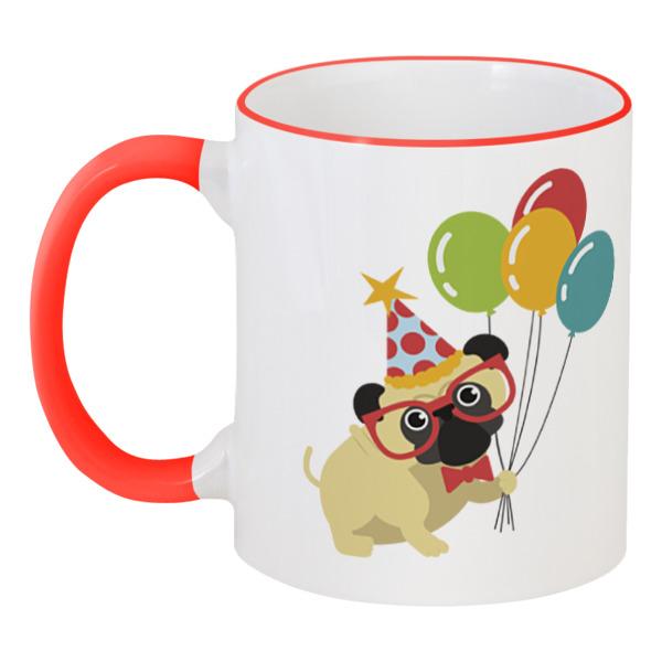 Printio Забавный пёс кружка с цветной ручкой и ободком printio пёс спасатель