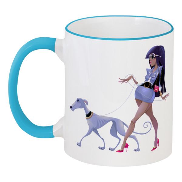 Кружка с цветной ручкой и ободком Printio Леди с собакой кружка с цветной ручкой и ободком printio праздничная капибара