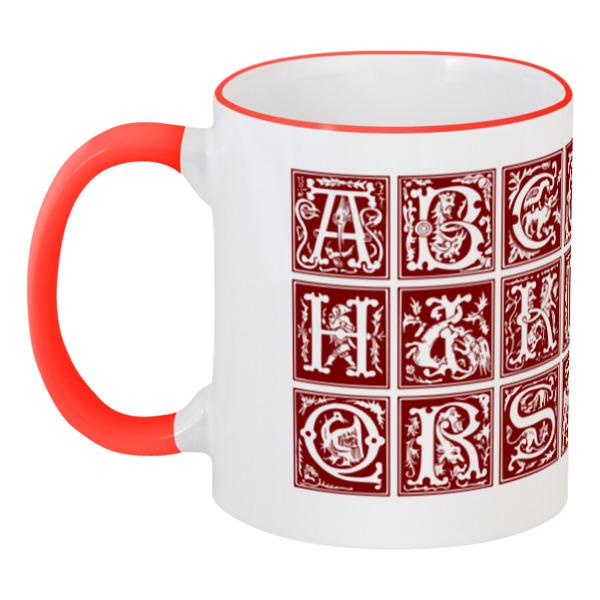 Кружка с цветной ручкой и ободком Printio Декоративный латинский алфавит xvi века анатомия человека русско латинский атлас
