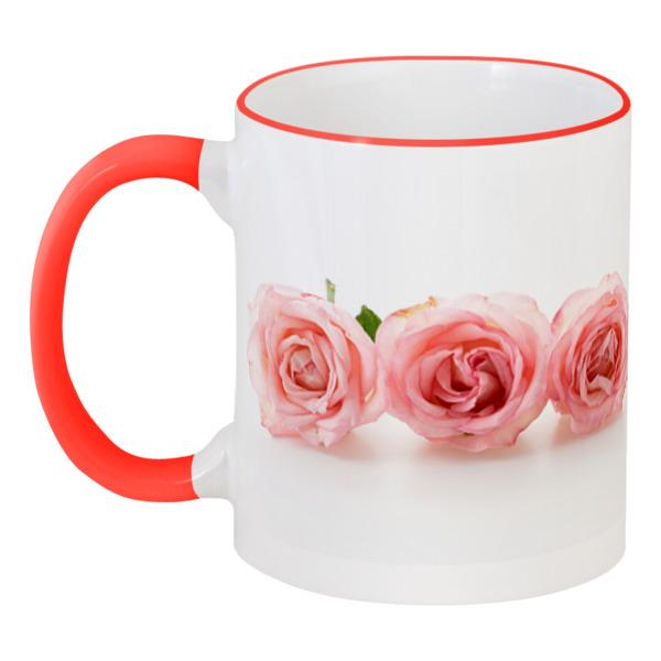 Кружка с цветной ручкой и ободком Printio Нежные розы кружка цветная внутри printio нежные розы