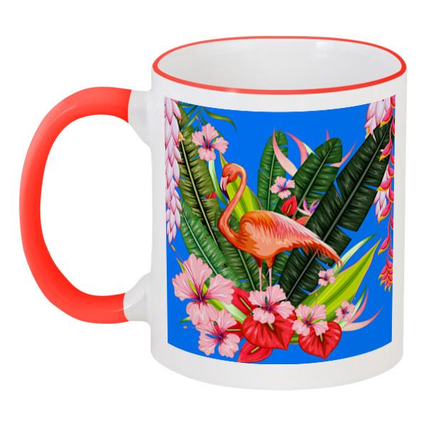 Кружка с цветной ручкой и ободком Printio Фламинго