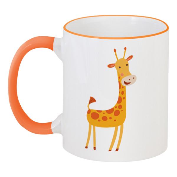 Кружка с цветной ручкой и ободком Printio Жираф кружка пивная printio оранжевый жираф