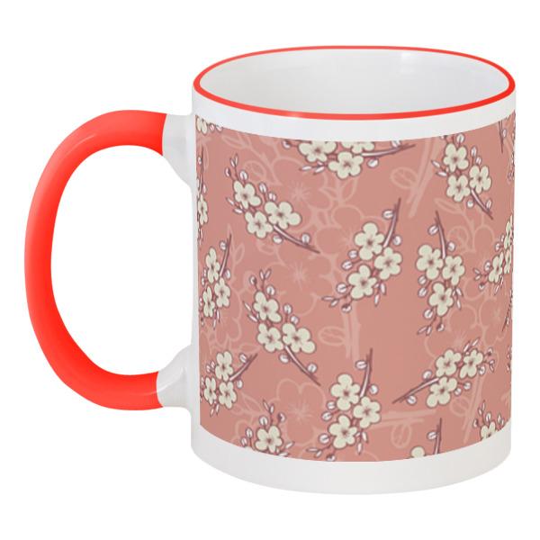 Кружка с цветной ручкой и ободком Printio Цветочный принт цветной тм девушка в розовом саду