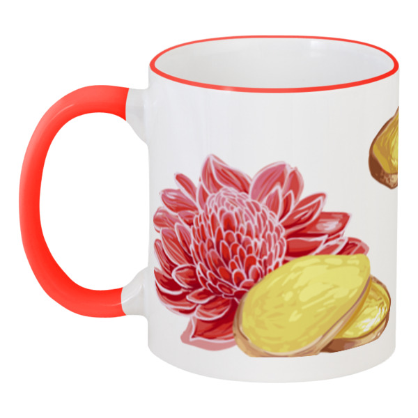 Кружка с цветной ручкой и ободком Printio Имбирь и цветок имбирь молотый по вкусу 25 г