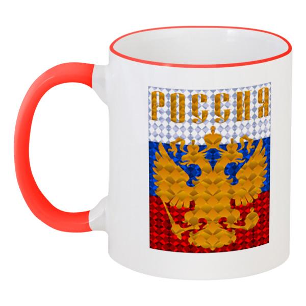 Кружка с цветной ручкой и ободком Printio Герб россии
