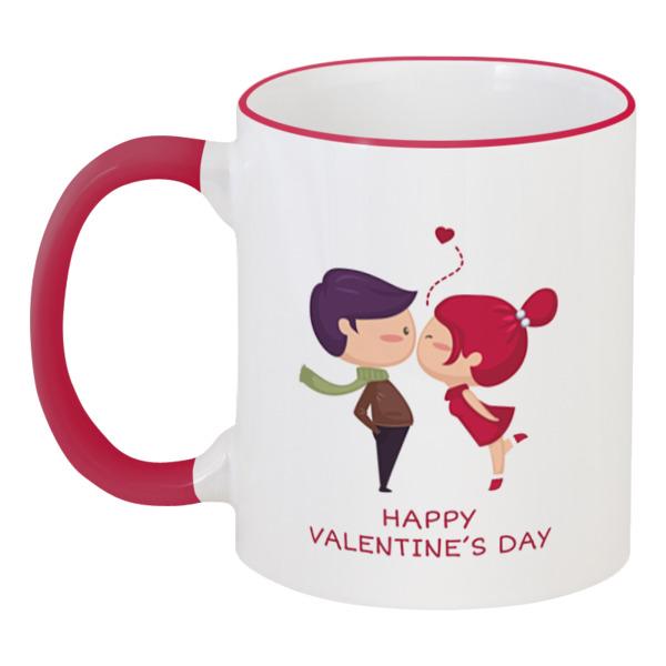 Printio День влюблённых кружка с цветной ручкой и ободком printio день влюблённых