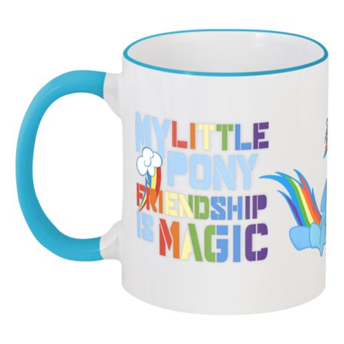 """Кружка с цветной ручкой и ободком """"Кружка MLP: Rainbow Dash"""" - rainbow dash, mlp, my little pony, кружка, подарок, brony, friendship is magic, cooler, cutiemark"""