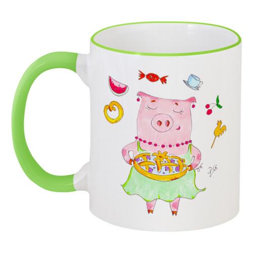 """Кружка с цветной ручкой и ободком """"Чайные сладости"""" - сладости, свинка, поросенок, пирог, хрюшка"""