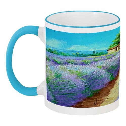 """Кружка с цветной ручкой и ободком """"Летний день"""" - лето, цветы, flowers, лаванда, lavender"""